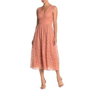 NSR Nordstrom Maria V-Neck Floral Lace Dress Peach